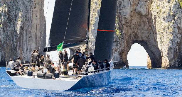 Caol Ila R training out by the Faraglioni, Capri's famous off-lying rocks. Photo Studio Borlenghi/Rolex.