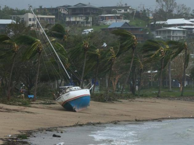 One of the boats washed ashore at Airlie Beach during the cyclone.