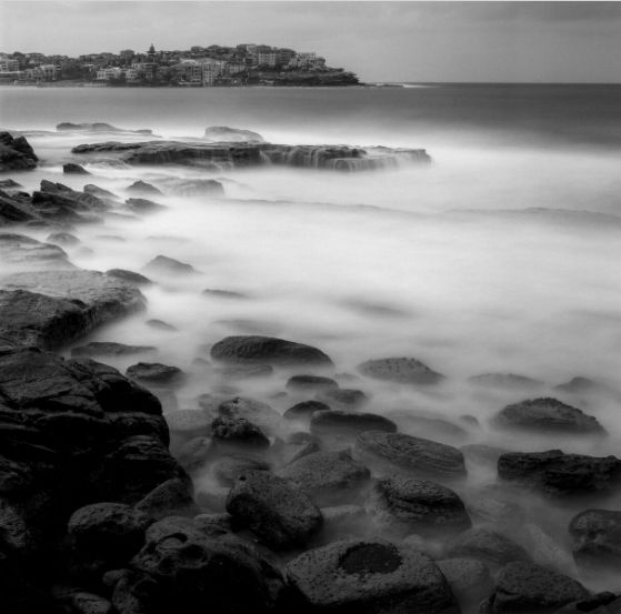 The tip of Ben Buckler Headland on a cold winter morning in Bondi. Hasselblad 503CX, Zeiss 80mm lens. approx 120s-240s exposure @ f22, Fuji Acros 100 exposed and developed @ ISO 100. Tripod, 10 stop ND filter. Curves, levels and crop adjusted in Lightroom CC.