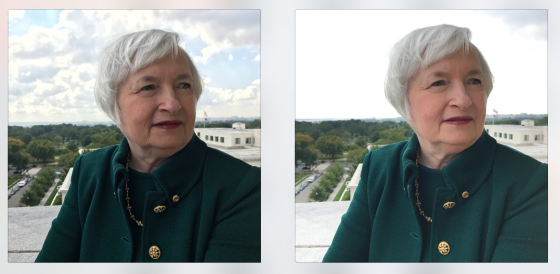 Janet Yelen photographed with HDR on (left) and HDR off. Photo by Luisa Dörr, courtesy TIME magazine.