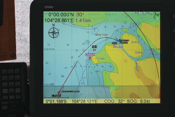 AIS showing our position and track in red. All other boats in blue.