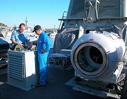 A hyperbaric chamber aboard a RAN minehunter is serviced by Cowan Manufacturing. Credit: Cowan Manufacturing