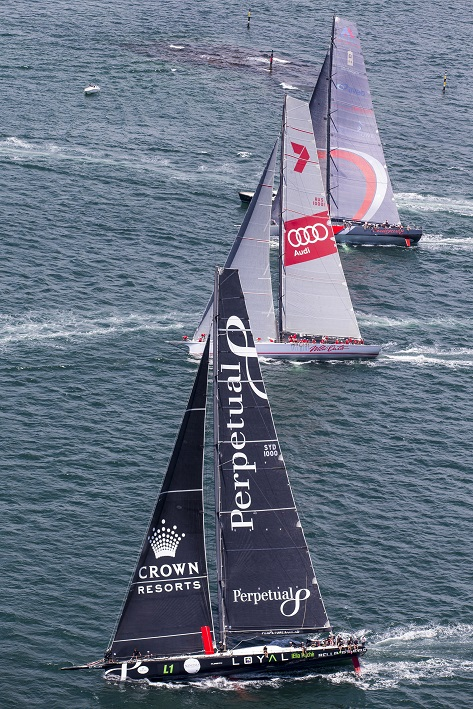 Perpetual Loyal, Wild Oats and Scallywag in the Big Boat Challenge 2016. Photo Andrea Francolini.