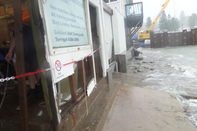 The Marine Rescue base at Terrigal took a battering over the weekend.