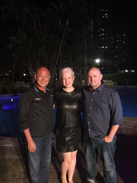 Darren with 'my two bosses', Giant's global CEO Tony Lo and Darren's wife Sophie who runs her own cycling cap business called Bon Chapeau, 'the good hat'.