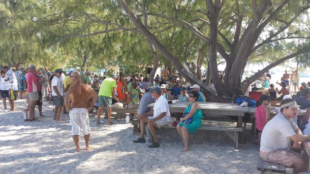 A Sunday get-together at the Chat N' Chill bar, Georgetown, Exumas, Bahamas.