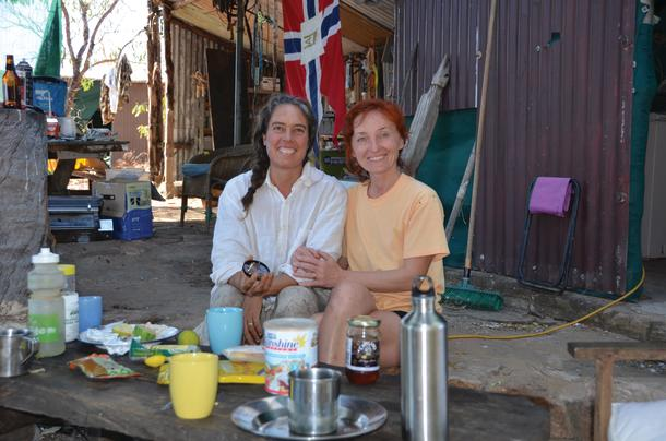 Don's camp kitchen with Jenya the woman who was bitten by a freshwater croc.