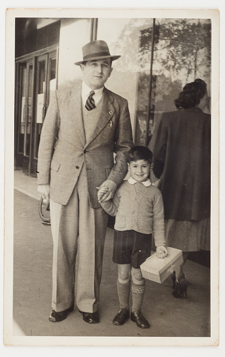 Aaron Levine and son David, 1949. Elizabeth Street. Image courtesy Agnes Levine.