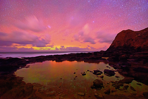 Astral Light, Mornington Peninsula, Victoria. Nikon D800E, 14-24mm lens @ 14mm, 48s @ f/2.8, ISO 3200, tripod, by Mark Gray.