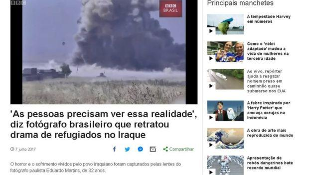 A screenshot of the original BBC Brazil profile of 'Eduardo Martins'