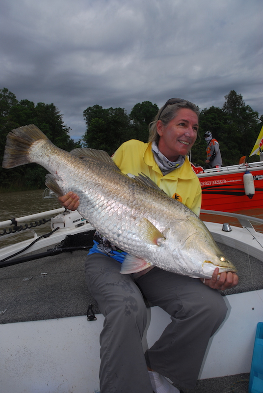 Rocky Edwards' 107cm barra hooked right on the edge before being driven mid-river and clear of snags.