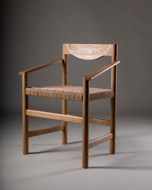 Chair, Steve Wise, American white oak and Danish cord