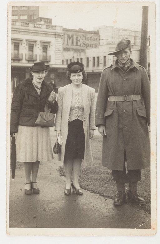 Charles James Larkins, wife Joan and sister Alicia Ison, 1943. Circular Quay, courtesy of the Larkins Daly family collection.