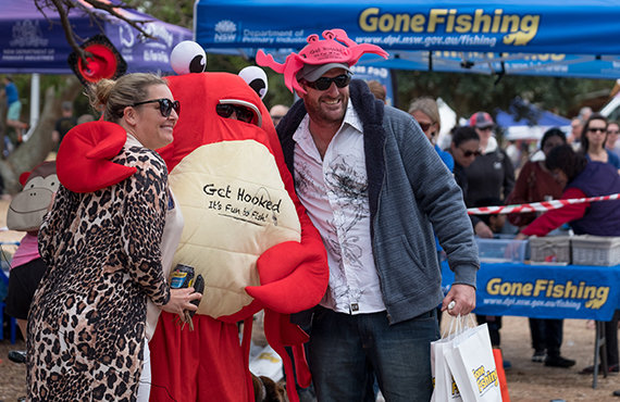Snappy, NSW DPI's crab mascot, will be appearing at Gone Fishing Day events this weekend.