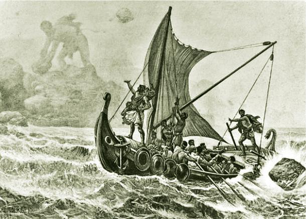 Illustration of a Greek ship circa the Odyssey book.
