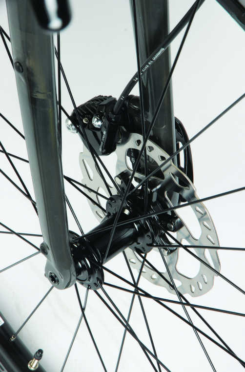 The Checkpoint's tapering fork legs have pannier mounting points.