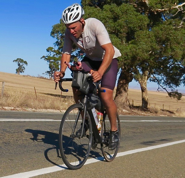 Totally focussed and averaging close to 500km per day, Abdullah Zeinab just north of Clare in the Clare Valley during the unofficial 2018 Indian Pacific Wheel Race. Image: Nat Bromhead