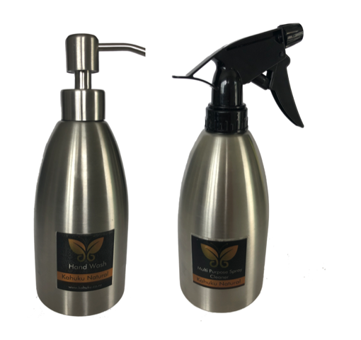 PIDA 2020 Health, Beauty & Wellness Category Finalist: Kahuku Natural refillable stainless-steel range of cleansers and liquid soap containers.