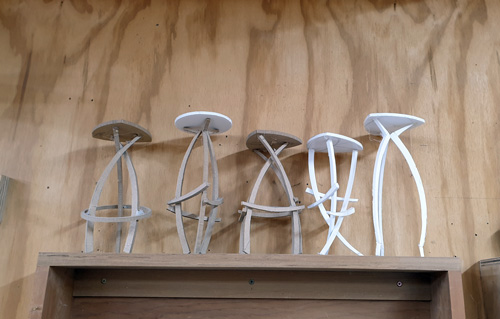 Some of the mockups Kelly Parker made for the stool she worked on during the open studio.