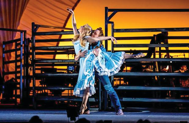 Stefanie Jones performing in the Production Company's 'Oklahoma' with Daniel Roberts.