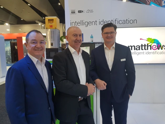 Strategic alignment: (l-r) Rodd Harrison and Paul Haggett from Kodak EIS Division, with Mark Dingley, CEO, Matthews Intelligent Identification.