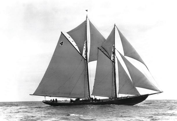 Nova Scotia fishing schooner full sail.