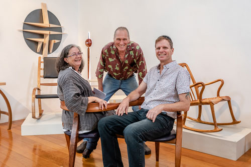 David Upfill-Brown (centre) with exhibitors Ruth Thompson and Darren Oates who are seated in David's piece Kiss Kiss – A Love Seat. Photo: Julijana Griffiths