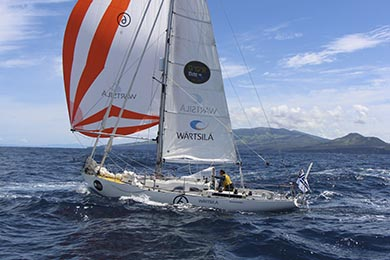 Tapio Lehtinen and his Gaia 36 Asteria photographed 4 miles west of Faial Island in the Azores.