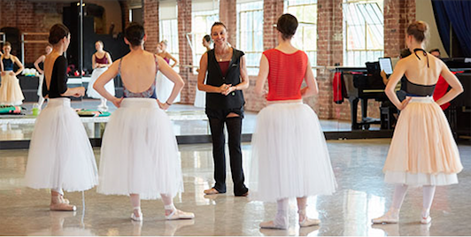Ballet mistress Sandy Delasalle with dancers of West Australian Ballet.