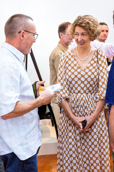 Stefan Kremer, CEO Felder Group Australia and SWA major sponsor chats with Margaret Boucher at the opening. Photo: Julijana Griffiths