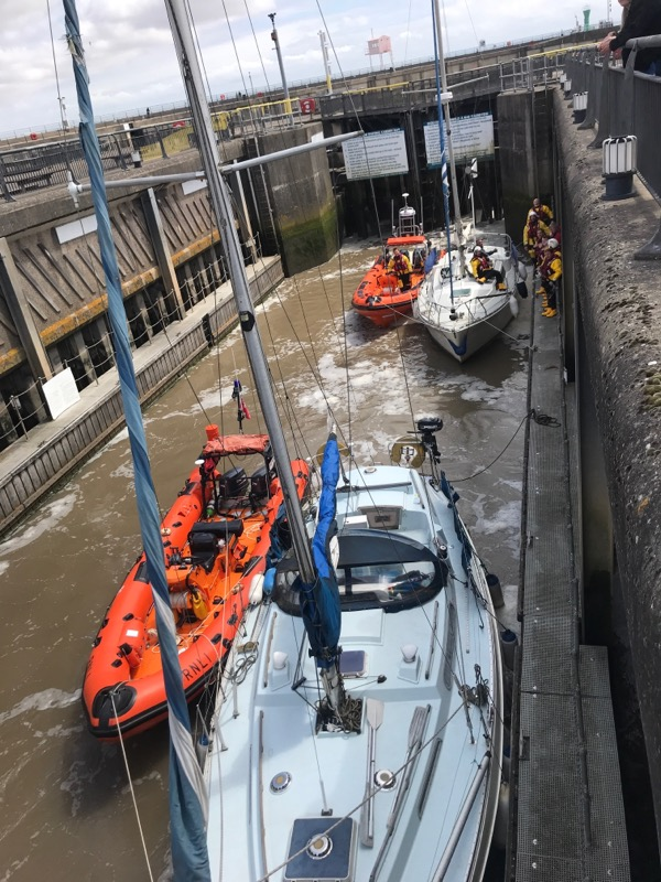 Locking through the Cardiff Barrage (RNLI Penarth)