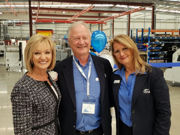 Tna founders Alf Taylor (centre) and Nadia Taylor (right) with local MP for Bayswater, Heidi Victoria (left) at the plant opening.