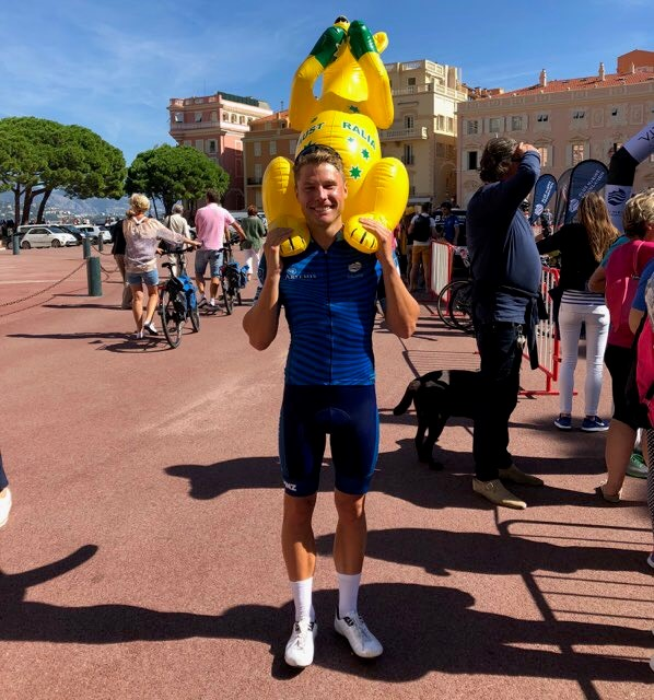 Happy to have crossed the finish line, Tom Hill at the completion of the ride in Monaco.