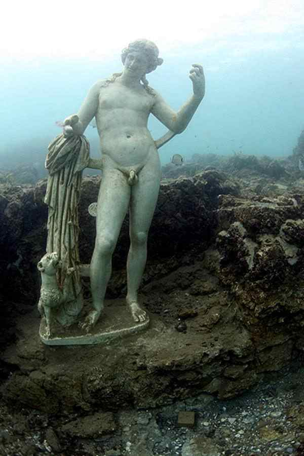 A preserved statue in an underwater portion of Baia, Italy. Courtesy Atlas Obscura.