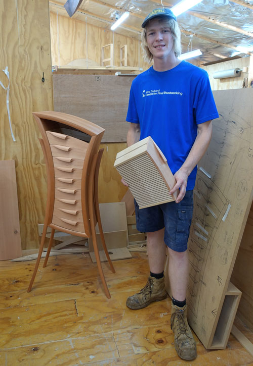 Scholarship winner Will Bayliss with his cabinet of curves.