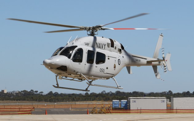A Bell 429 operated by Navy on lease from Raytheon at Avalon 2019.Nigel Pittaway