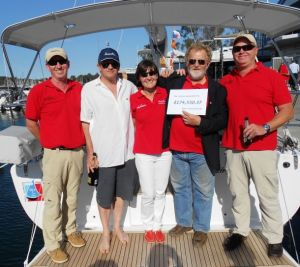 L-R  Allan Bridge (GM Windcraft) John Scott (Winner) Mary Bickley (Windcraft) David Pescud (Sailors with disAbilities) Peter Hrones ( MD Windcraft)