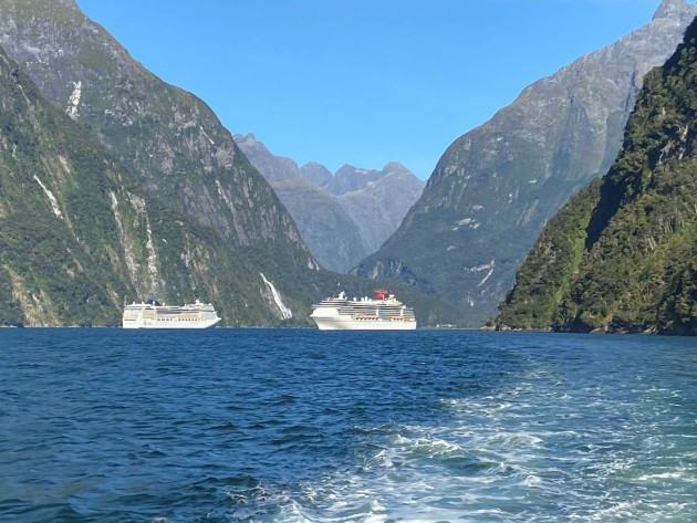 New Zealand's Milford Sound. A popular destination for the cruise liners. Our preference will always be the smaller more intimate cruise.