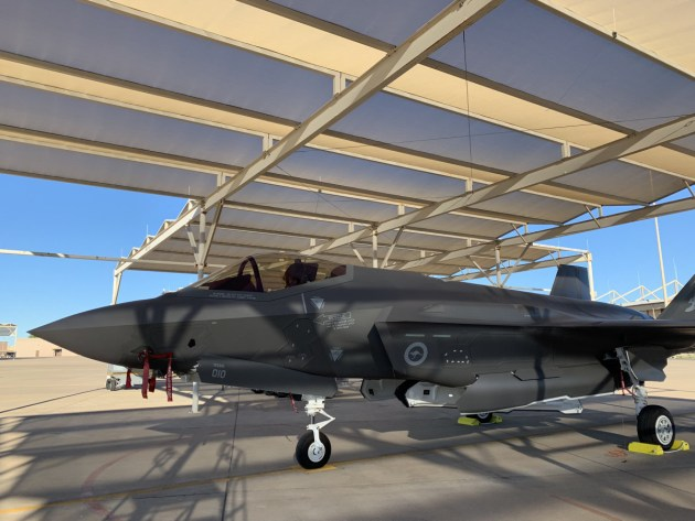 The RAAF's tenth F-35A on the flight line at Luke Air Force Base.
