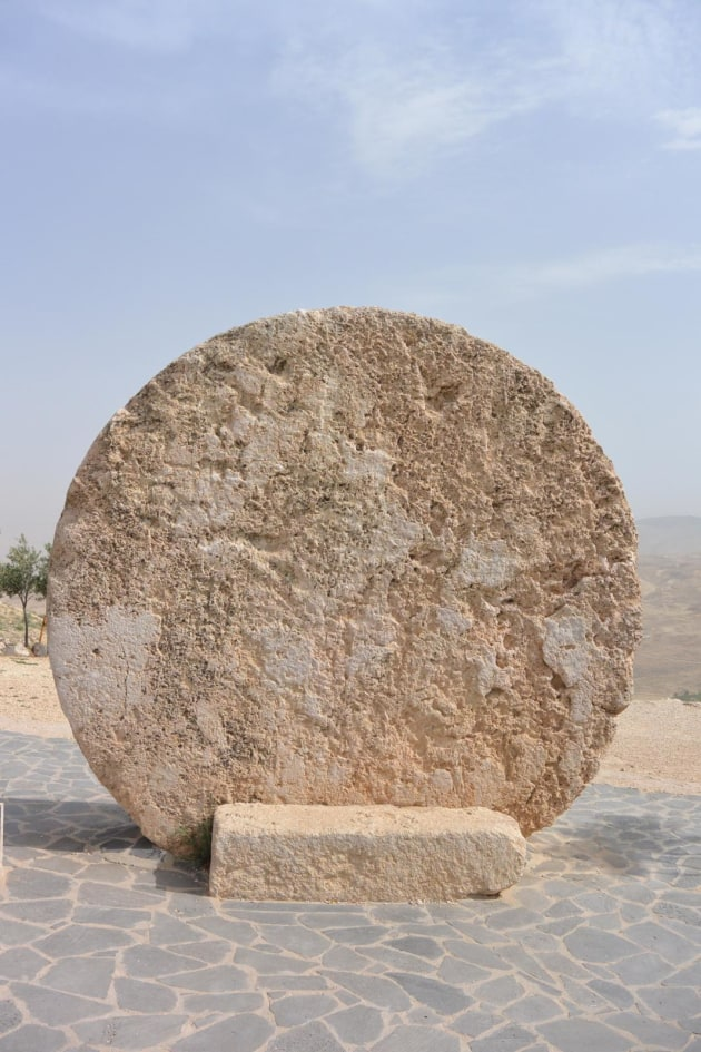 Giant stone bike wheel at Mt Nebo