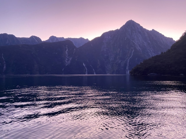 Milford Sound at dusk, taken from the deck of the Milford Mariner.