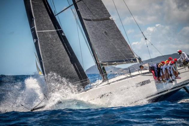 Giles Redpath's Lombard 46 Pata Negra (GBR), skippered by Andy Liss, has posted the best corrected time under IRC, winning the Warrior Trophy in the 2019 Antigua Bermuda Race  © Tobias Stoerkle/