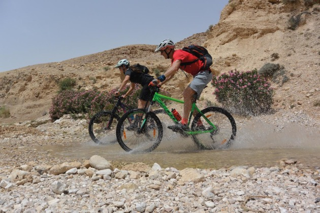 Rare water crossing in Wadi Zarqa Main