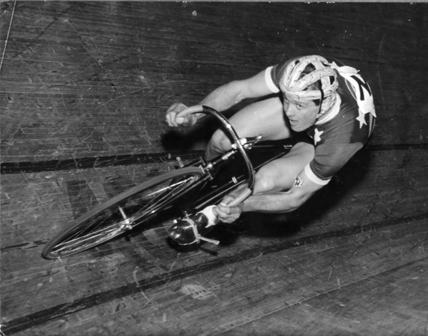 At Speed in a Madison at Vel d'Hiv in Paris 1955.