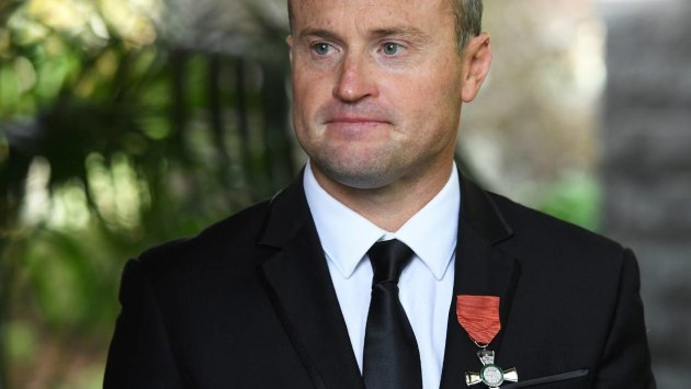 Team New Zealand star Glenn Ashby proudly wears his Member of the NZ Order of Merit medal. Photosport.