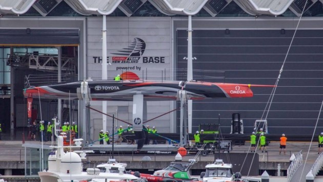 Team New Zealand's new America's Cup boat has had an early public appearance. {hoto ETNZ.
