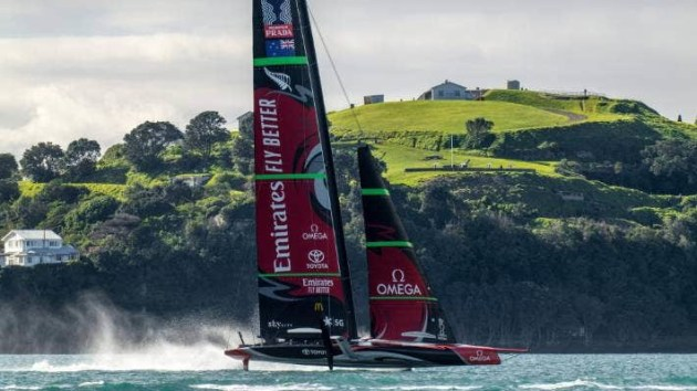 Team New Zealand's AC75 Te Aihe ripping past North Head. Photo ETNZ.