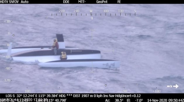 WA Police footage of the rescue off the coast of Garden Island. Credit: WA Police