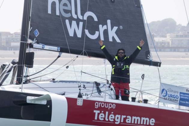Victory to Yoann Richomme (HelloWork-Groupe Telegramme) in the  50th edition of La Solitaire Urgo Le Figaro 2019. Photo © Yvan Zedda.