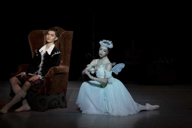 Hayley Thompson as the Sylph and Thomas McClintock as James in the Australian Ballet School's graduation performance.